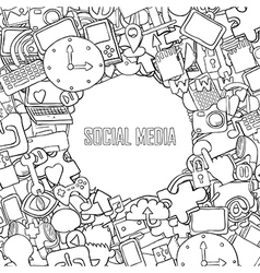 Social media background with media icons vector image vector image