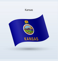 state of kansas flag waving form vector image vector image
