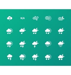 Weather icons on green background vector image vector image