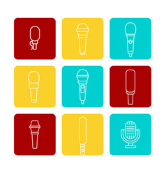 White microphone line icons set vector