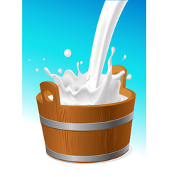 Wooden pail with milk pour isolated on white - vector