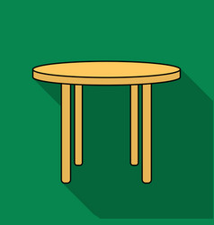 Wooden round table icon in flat style isolated on vector