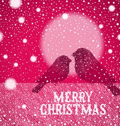 Christmas hand drawn bullfinches vector image