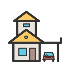 House with garage vector