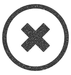 Delete X-Cross Icon Rubber Stamp vector image