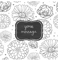 Chalk flowers blackboard frame seamless pattern vector image