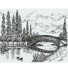 Bridge over river vector