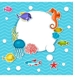 Marine life sticker background with sea animals vector