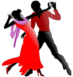 Tango silhouettes in red vector