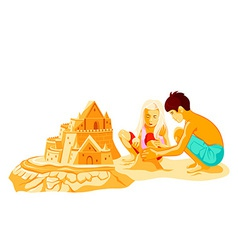 Building sand castle vector