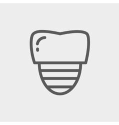 Tooth implant thin line icon vector