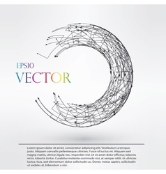 Wireframe logo polygonal element torus with vector