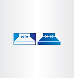 Blue bedroom bed icon vector