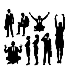Businessman and businesswoman silhouettes vector