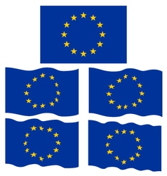 Flat and waving flag of europe vector