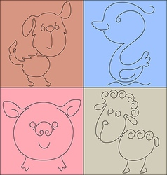 Duck pig dog sheep vector