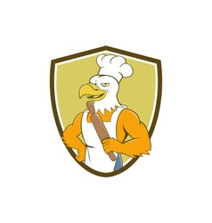 Bald eagle baker chef rolling pin crest cartoon vector