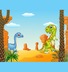 Cartoon funny dinosaur collection with prehistoric vector