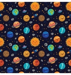 Seamless space pattern background with planets vector