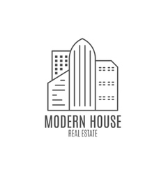 Modern house logo design real estate icon vector