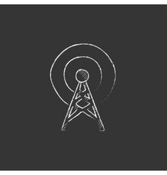 Antenna drawn in chalk icon vector