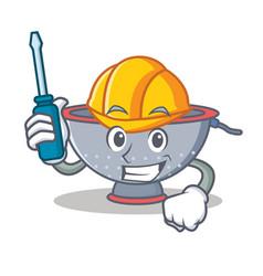Automotive colander utensil character cartoon vector