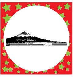 Black 8-bit mount fuji at lake kawaguchiko vector