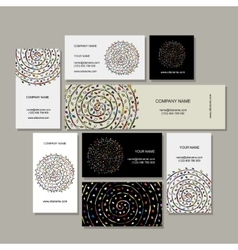 Business cards collection floral mandala design vector