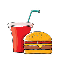 cartoon tasty burger and cola paper cup vector image
