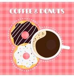 Coffee and Donuts on Checked Table Cloth vector image vector image