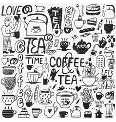 coffee and tea cups doodles vector image vector image