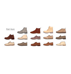 collection of modern and stylish men s footwear - vector image