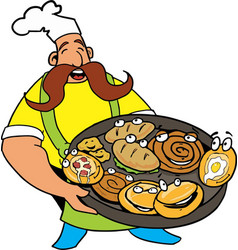 Comic cook with pizza and pie in the hands vector