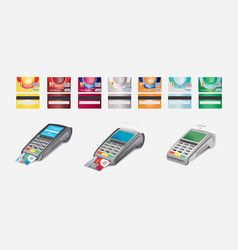Credit card icon and pos terminal isolated on vector