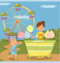 Cute little girl bying cotton candy from street vector