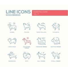 Dog breeds - line design icons set vector image vector image