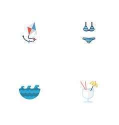 flat icons drink sea beachwear and other vector image vector image