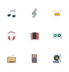 Flat icons harmonica radio earphone and other vector