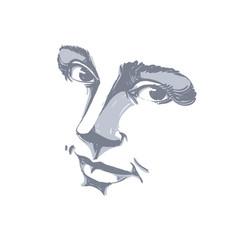 Hand-drawn monochrome portrait of delicate vector