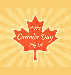 happy canada day on maple leaf greeting card for vector image