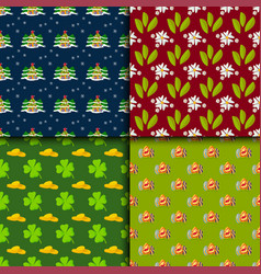 happy holidays different seamless pattern vector image vector image