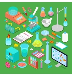 Isometric chemical research elements set vector