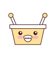 kawaii basket shopping supermarket handle cartoon vector image vector image