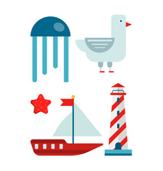 marine themed set of isolated cartoon minimalistic vector image vector image