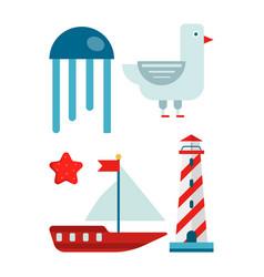 marine themed set of isolated cartoon minimalistic vector image vector image