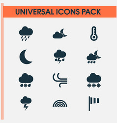 Nature icons set collection of flash moonlight vector