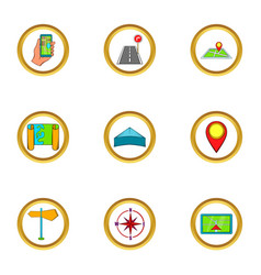 navigation icons set cartoon style vector image