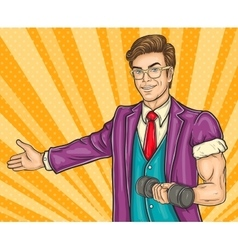 Pop art man invites you to the opening gym vector