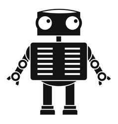 Robot with big eyes icon simple style vector