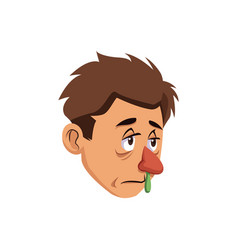 Runny nose and sneezing a sick man image vector